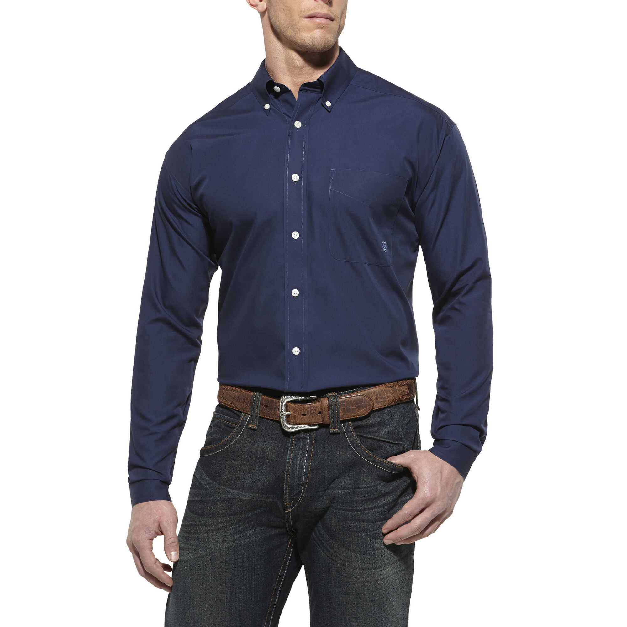 Solid Wrinkle Free Woven Shirt