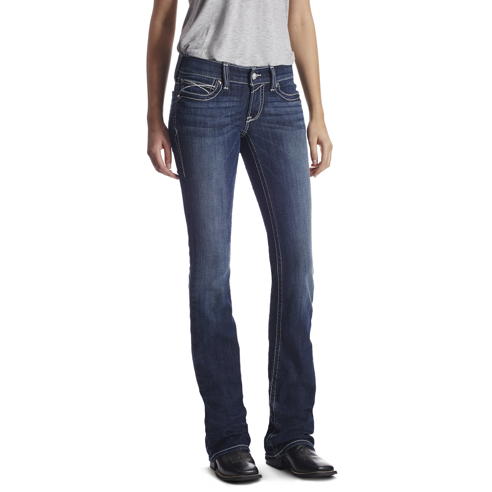 Ariat women's real mid rise bootcut whipstitch jeans
