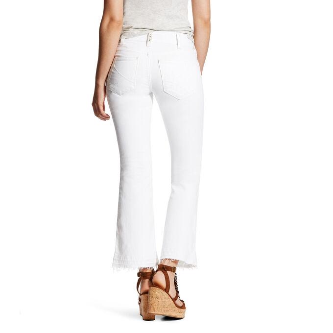R.E.A.L Mid Rise Ella White Deconstructed Stitch Cropped Straight Leg Jean