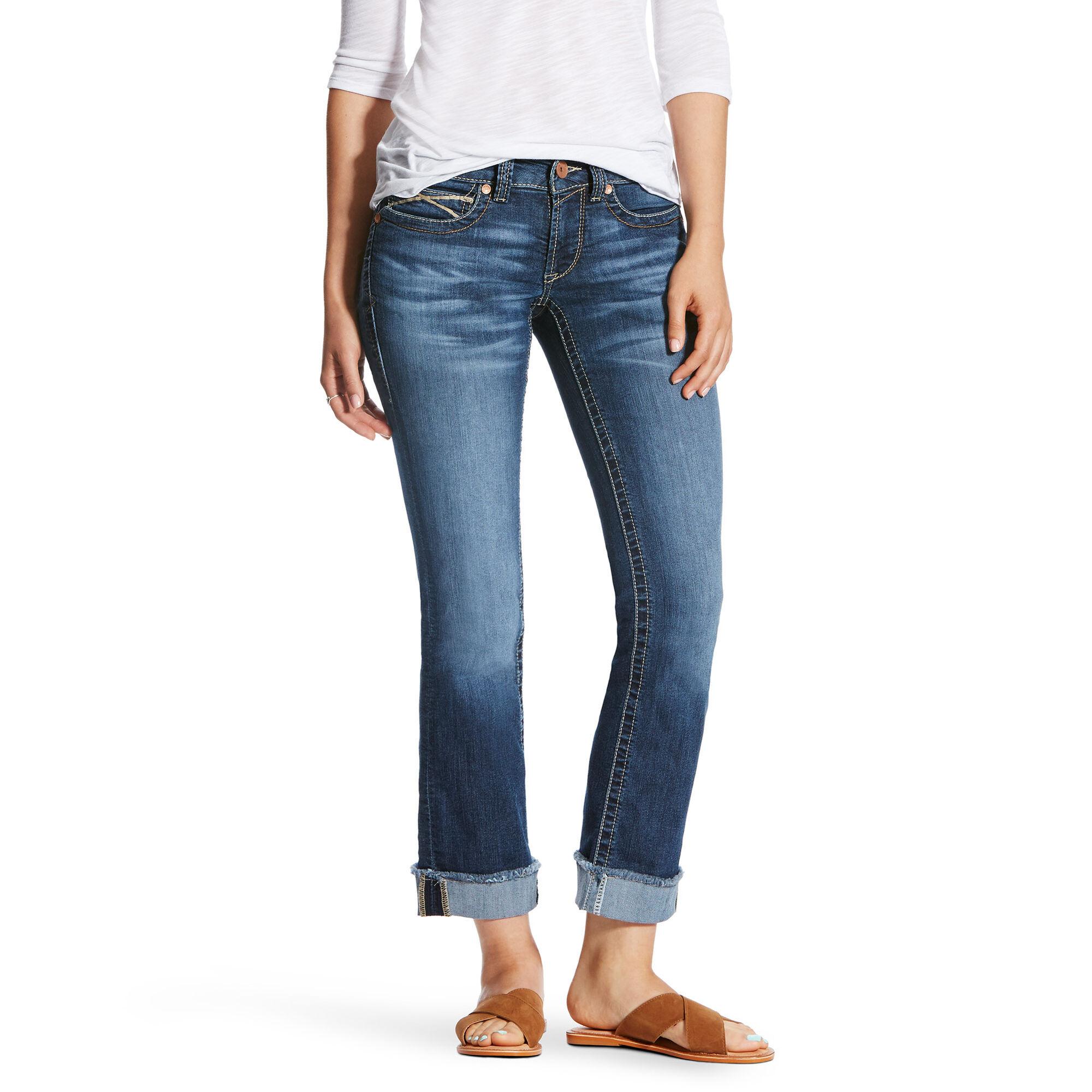 R.E.A.L Mid Rise Baseball Stitch Stackable Straight Leg Jean