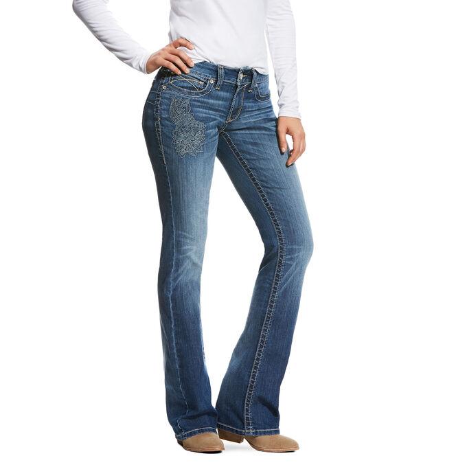 R.E.A.L Mid Rise Folk Flower Boot Cut Jean