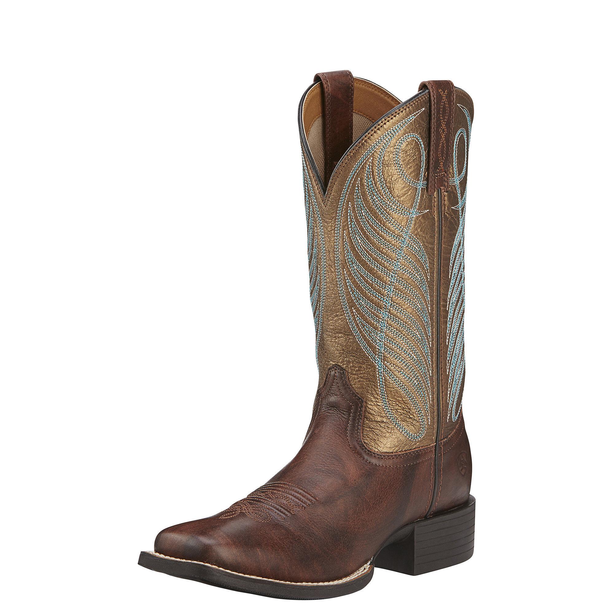 Womens Boots ariat brown round up square toe powder mq5m26e8