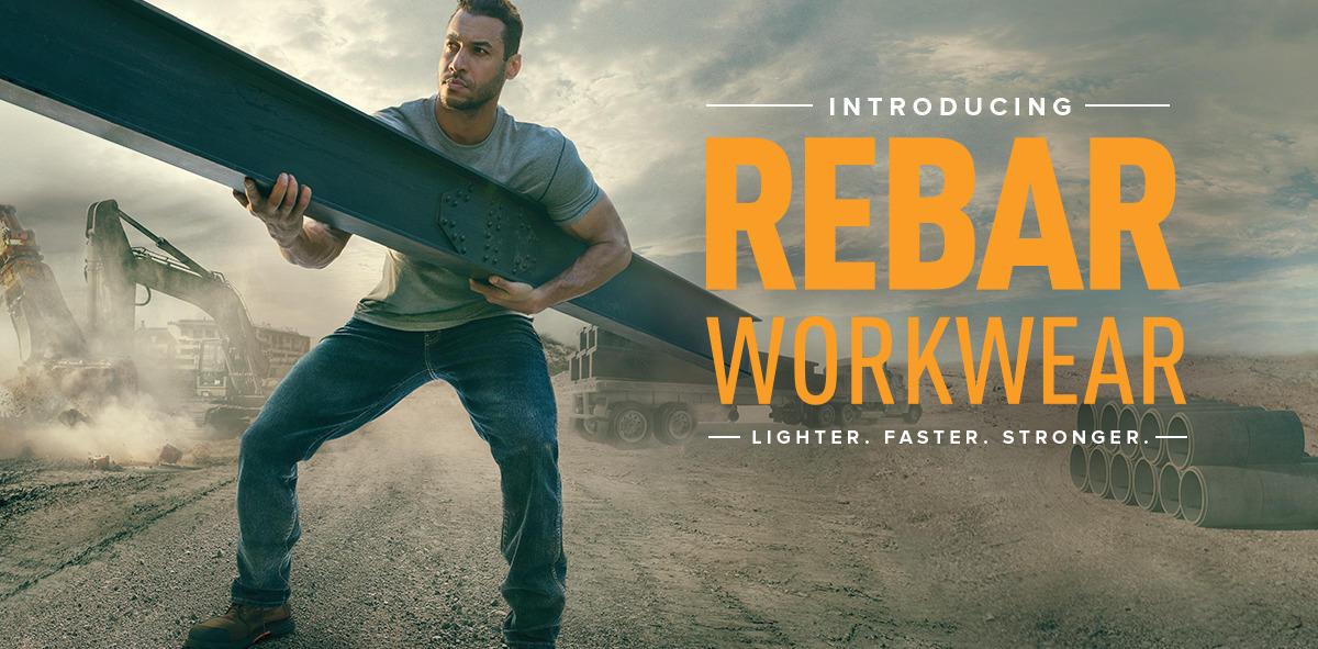 Man holding beam wearing Rebar workwear