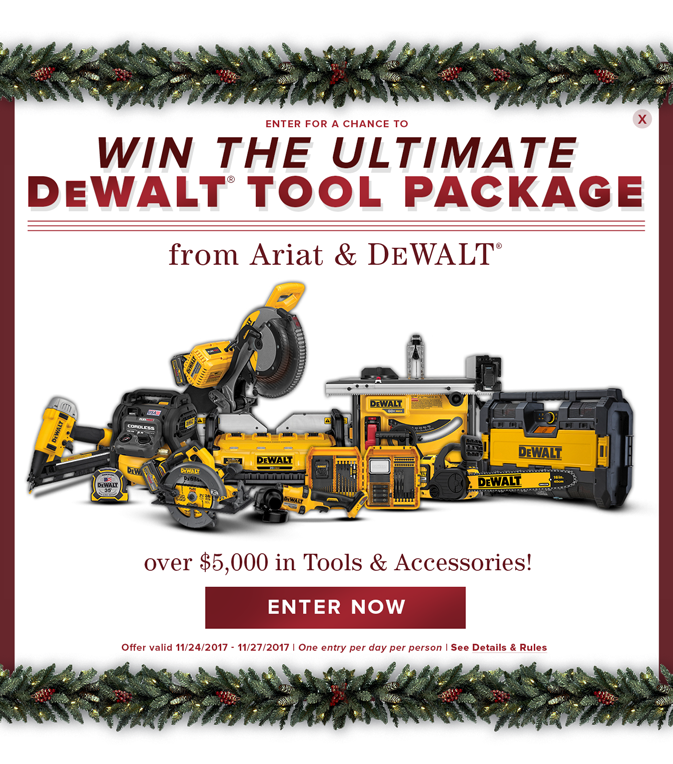 Enter for a chance to win a DEWALT tool package - Offer Valid 11/24 to 11/27. One entry per day per person.