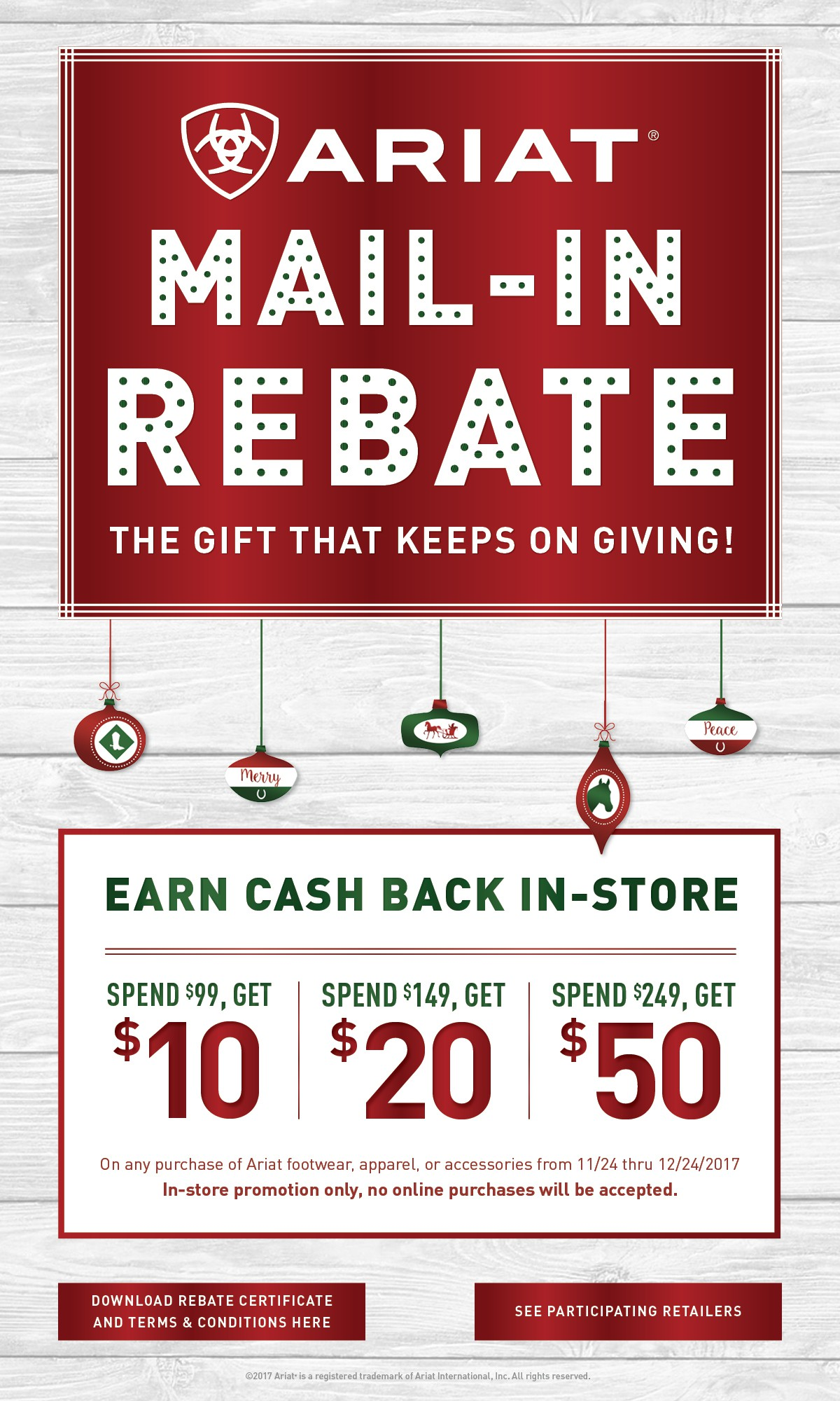 Ariat Holiday 2017 Mail-In Rebate