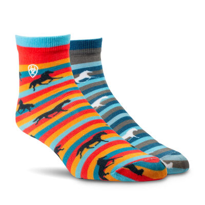 Horses on Stripes Ankle Sock 2 Pair Multi Color Pack