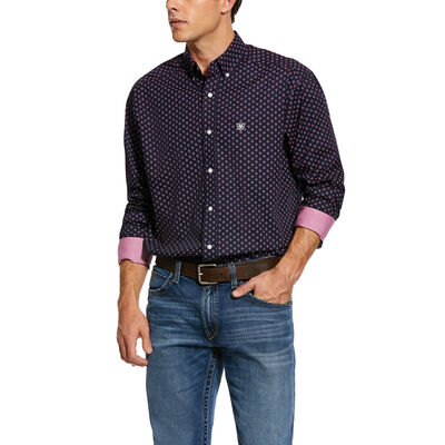 Wrinkle Free Indham Print Classic Fit Shirt