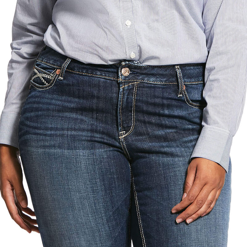 R.E.A.L. Mid Rise Stretch Brianne Stackable Straight Leg Jean