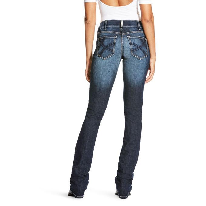 R.E.A.L Mid Rise Satin Stitch Ella Stackable Straight Leg Jean