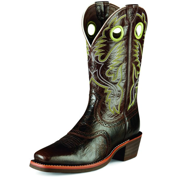 Mens Cowboy Boots with Green Accents