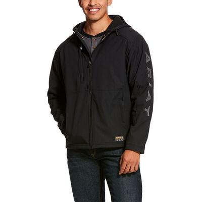 Rebar Stretch Canvas Softshell Hooded Logo Jacket