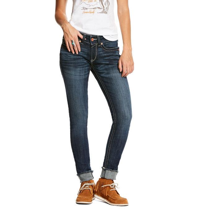 R.E.A.L. Mid Rise Stretch Deco Tile Skinny Jean