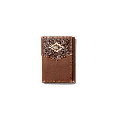 Diamond Emboss Brown Trifold Wallet