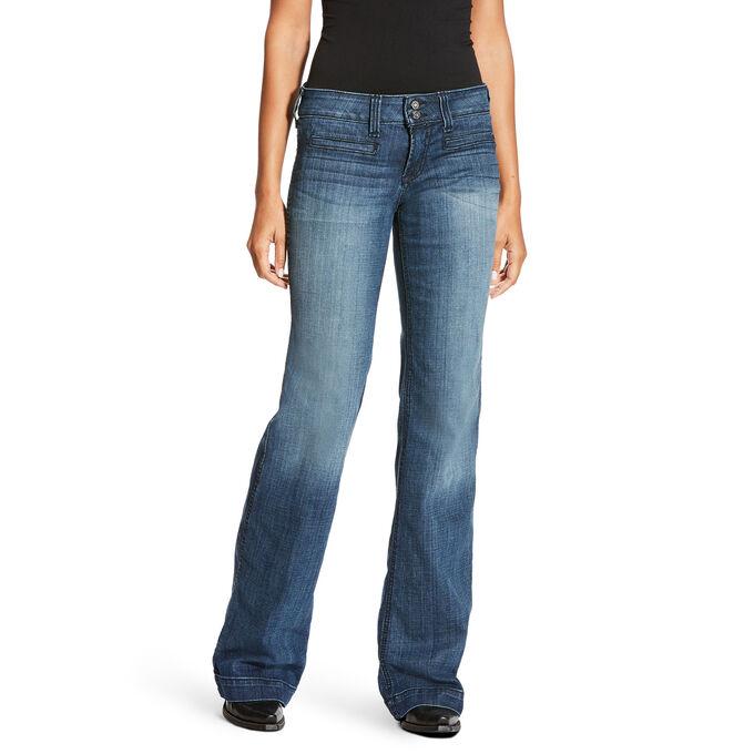 Women's Wide Leg Western Bootcut Jeans - Medium Wash