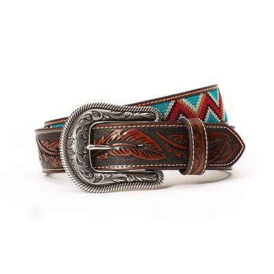 Chevron Floral Tooled Belt