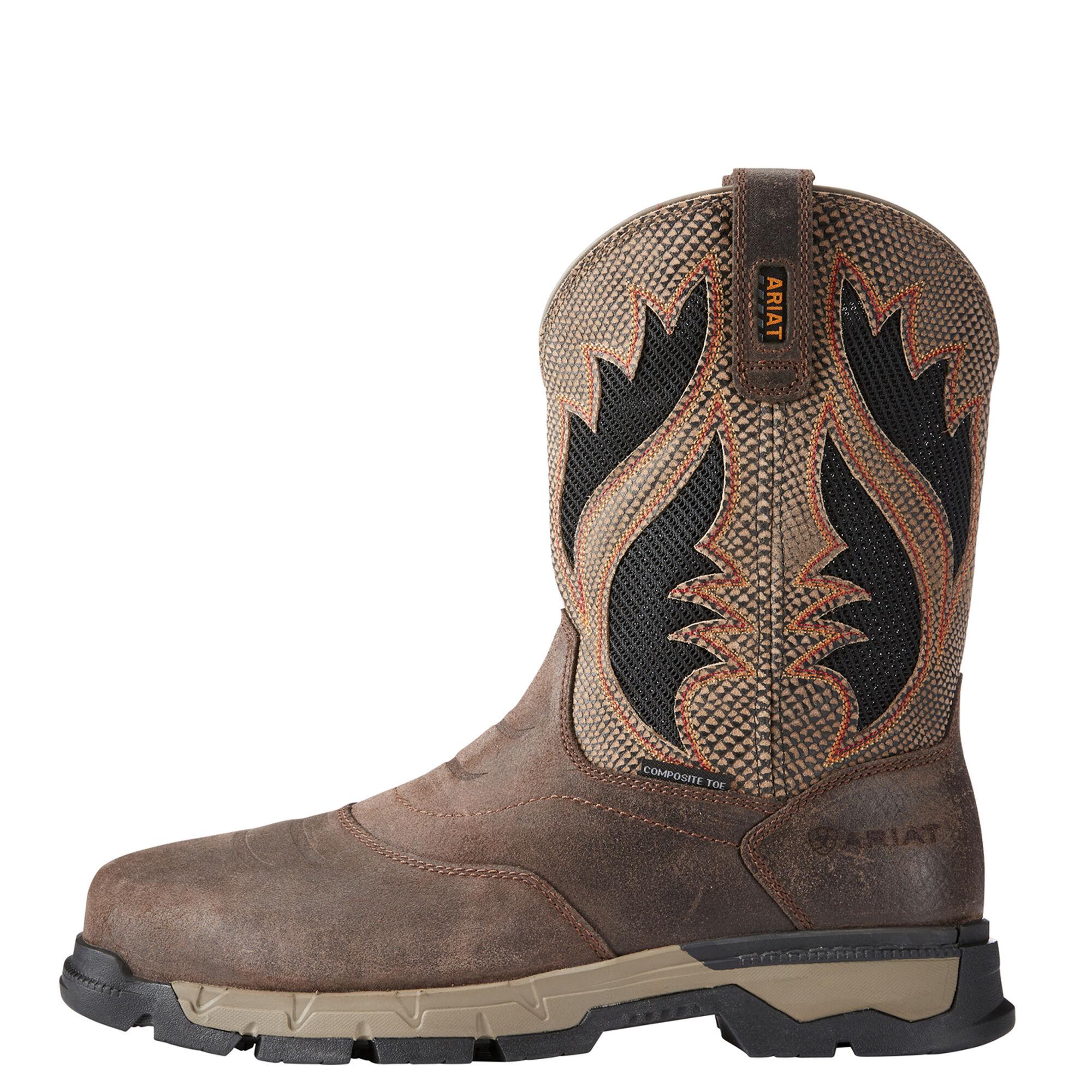 Men's Ariat Rebar Western VentTEK Composite Toe Work Boot, Size: 11.5 2E, Chocolate Brown Leather