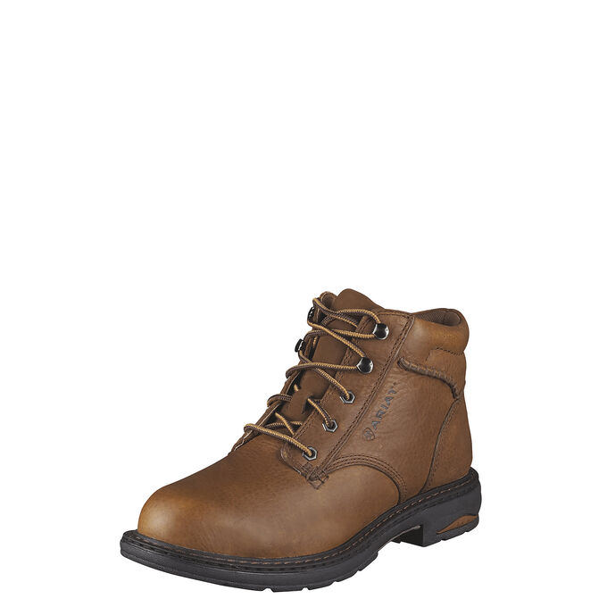 Women's Brown Leather Work Boot - Soft Toe