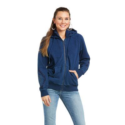 Knit Denim Full Zip Sweatshirt