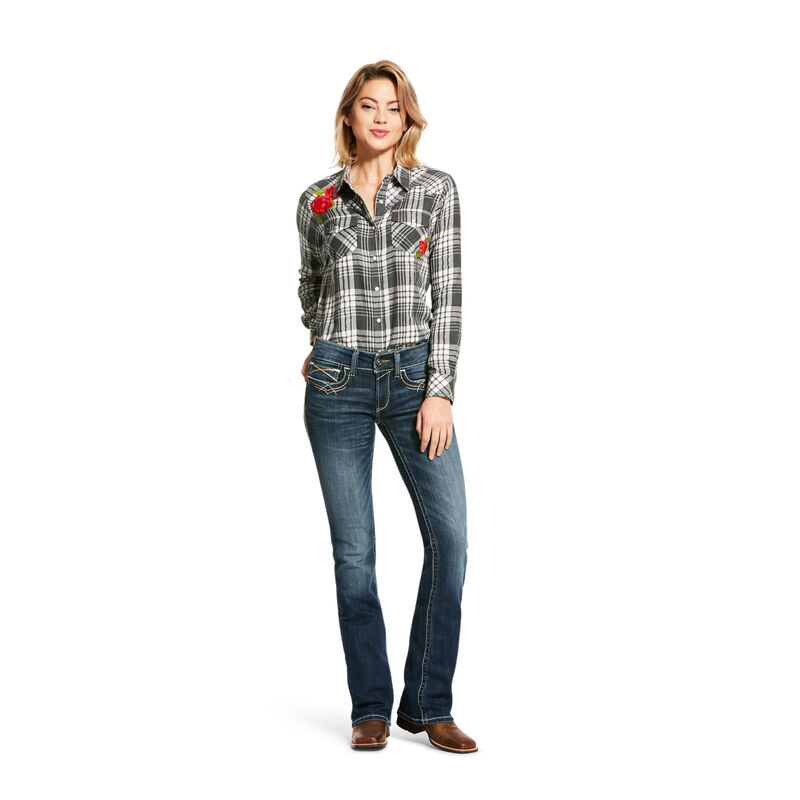 R.E.A.L. Mid Rise Stretch Entwined Festival Boot Cut Jean