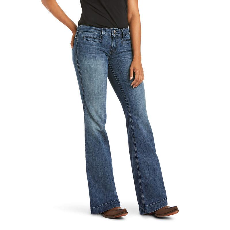 Trouser Mid Rise Stretch Outseam Ella Wide Leg Jean