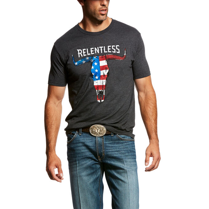 Relentless American Flag Skull T-Shirt