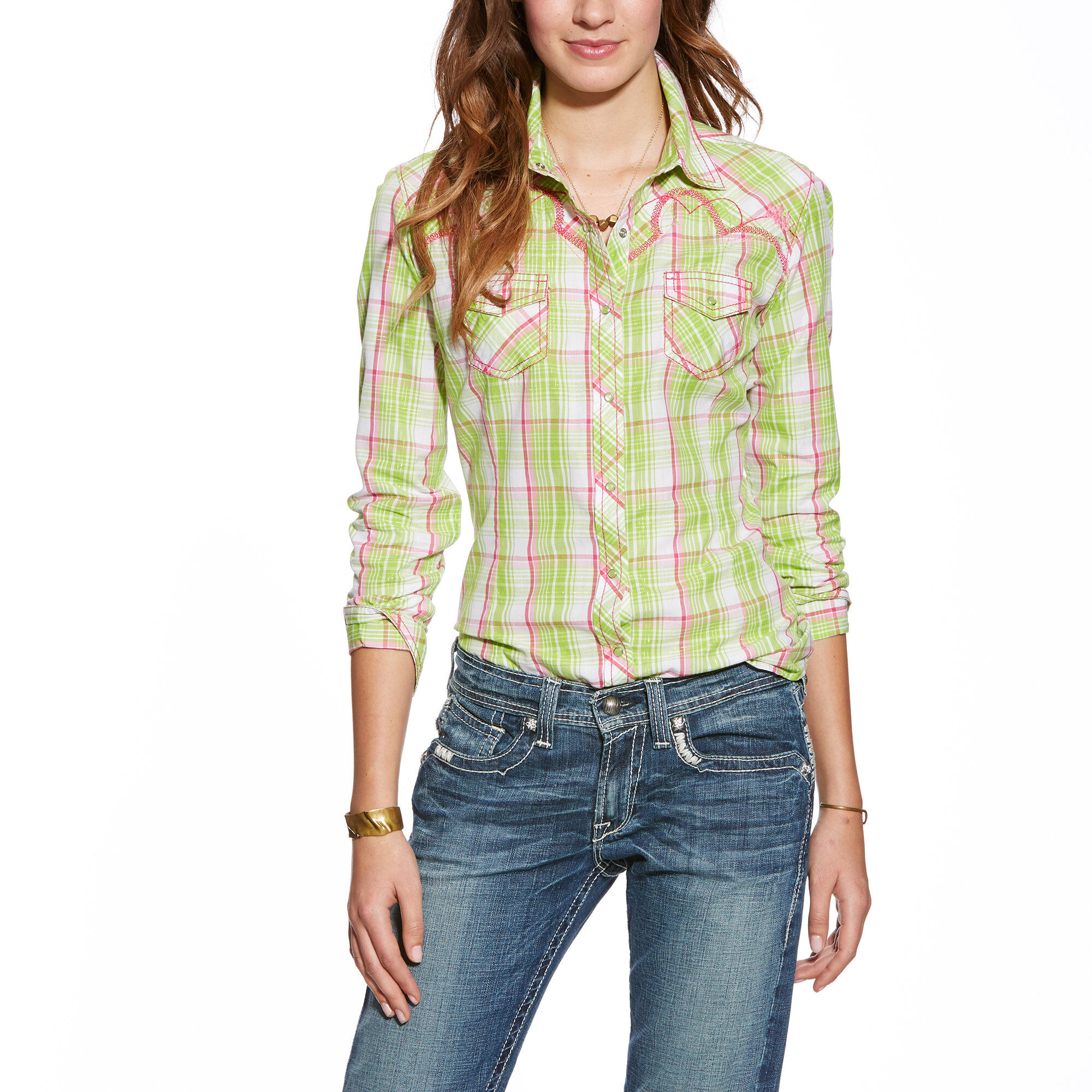 dbabf2a4 Images. Brooke Fitted Plaid Snap Fitted Shirt