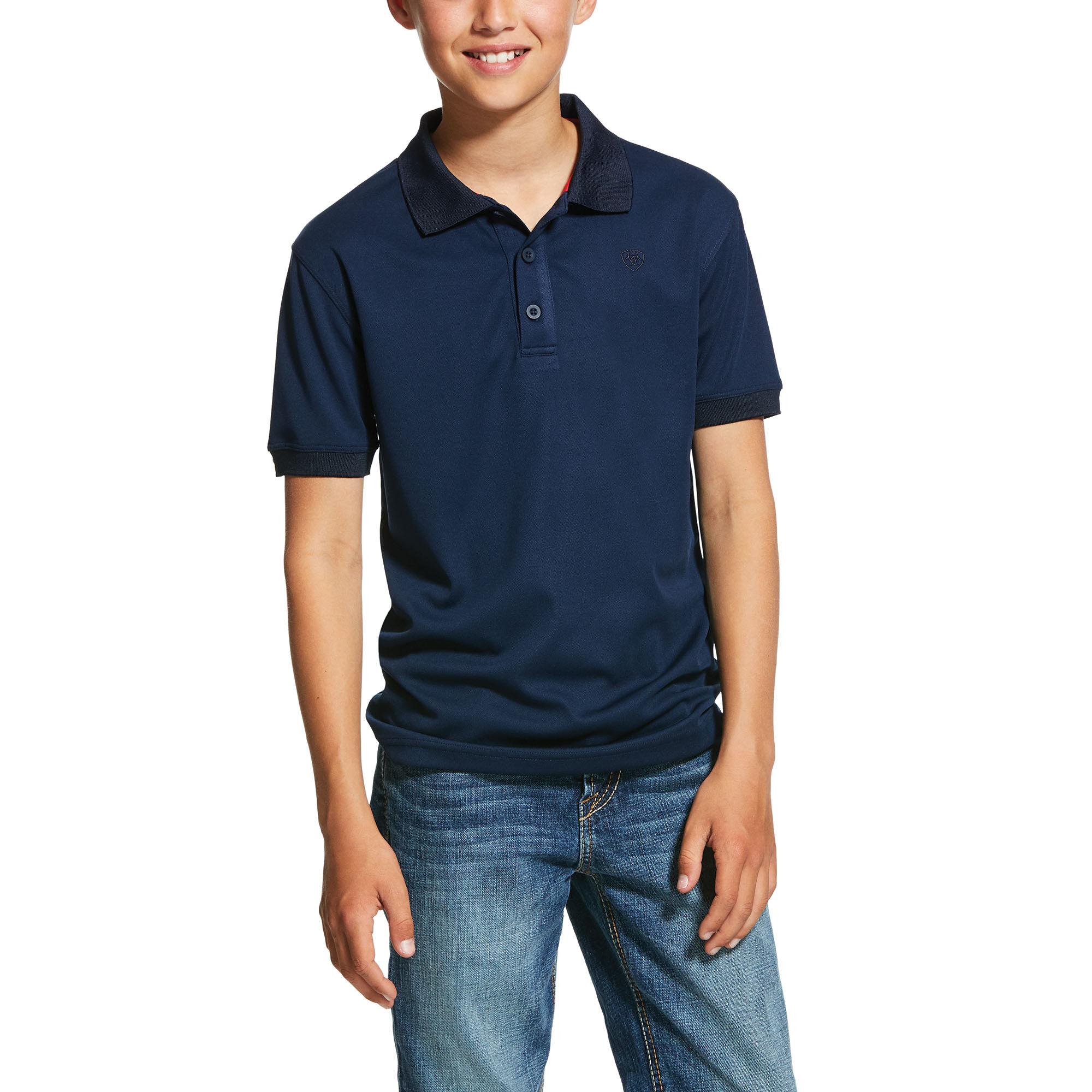 Sea Horse Apparel Boys White Half Sleeve Polo Shirt