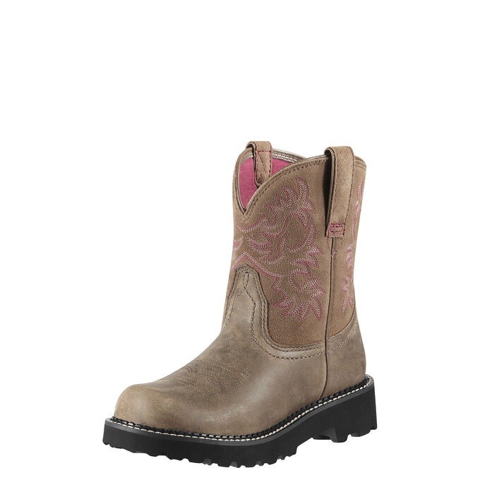 Women's Light Brown Cowboy Boots with Pink Stitching