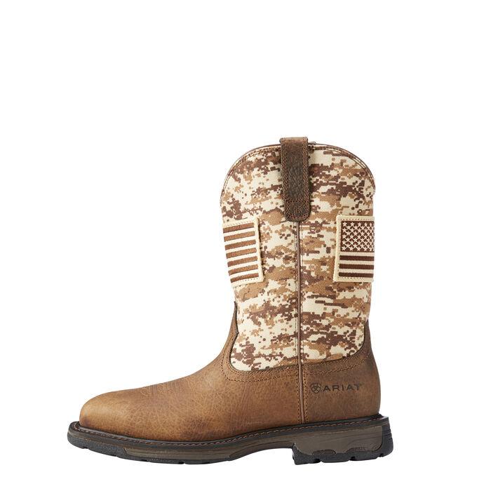 Men's Brown Camo American Flag Work Boot