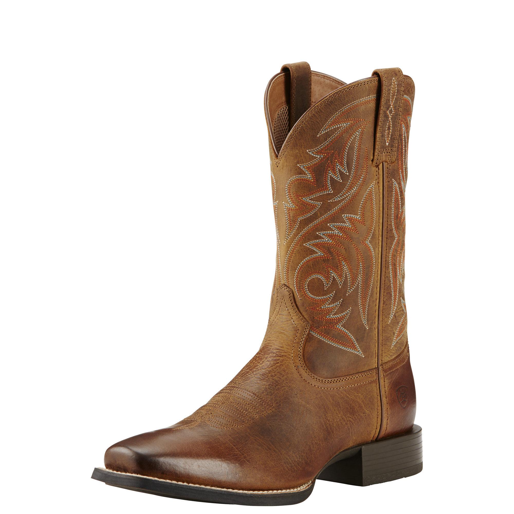 Men's Ariat Sport Herdsman Cowboy Boot, Size: 7.5 D, Powder Brown Full Grain Leather