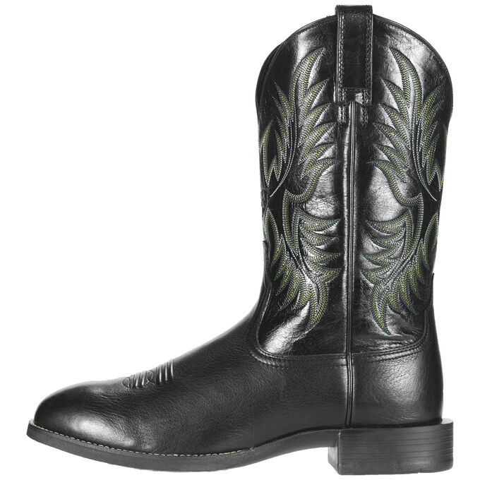 Men's Black Stockman Cowboy Boots With Green Stitching