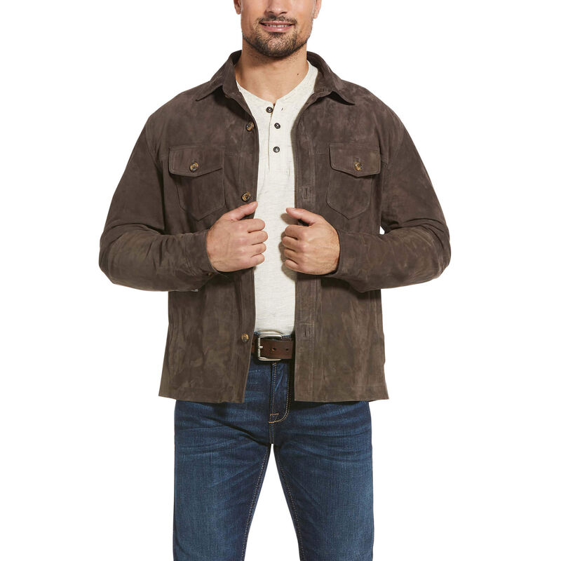 Leather Suede Shirt Jacket
