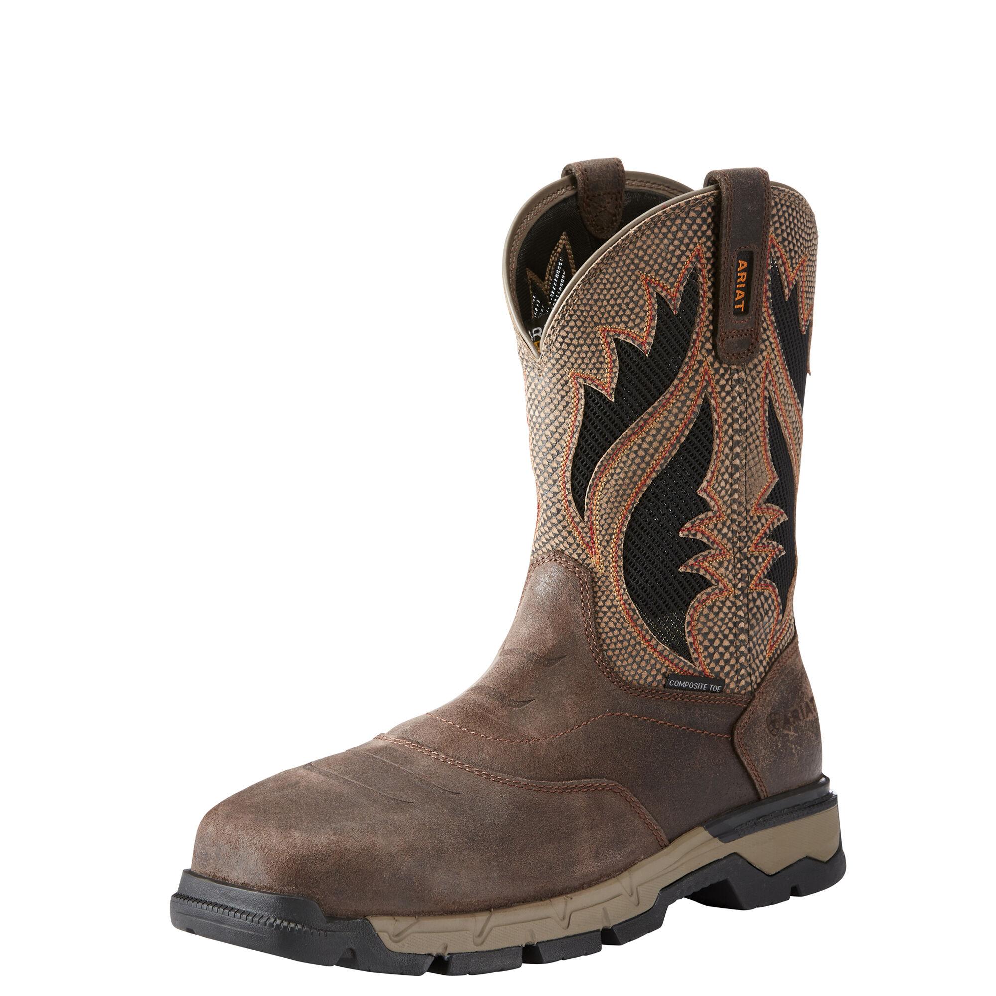 Men's Ariat Rebar Western VentTEK Composite Toe Work Boot, Size: 10.5 D, Chocolate Brown Leather