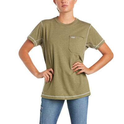 Rebar Work Woman Camo Flag T-Shirt