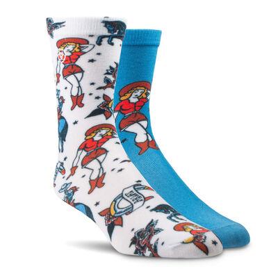 Western Flash Crew Sock 2 Pair Multi Color Pack