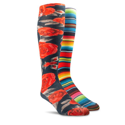 Western Beauty Knee High Sock 2 Pair Multi Color Pack