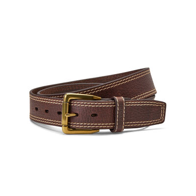 Gold Buckle Double Stitch Belt