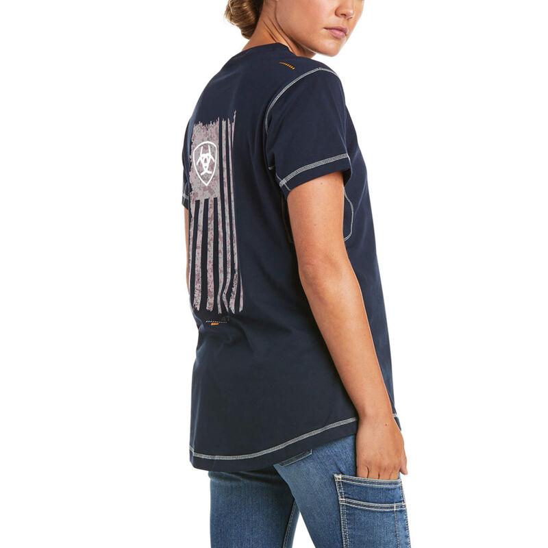 Rebar Work Woman Camo Flag T-Shirt