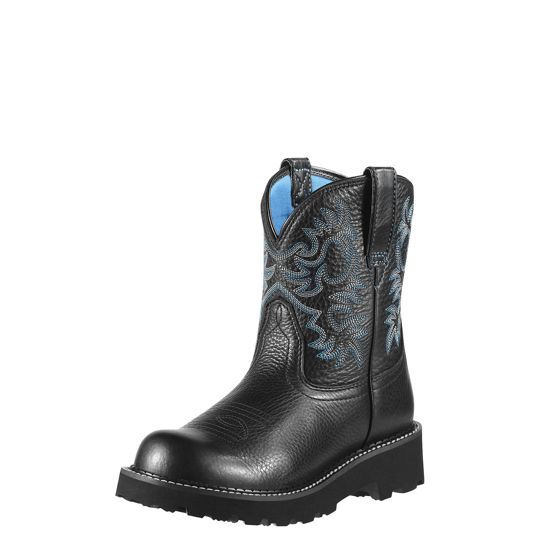 Women's Fatbaby Western Boots in Black Deertan Leather by Ariat