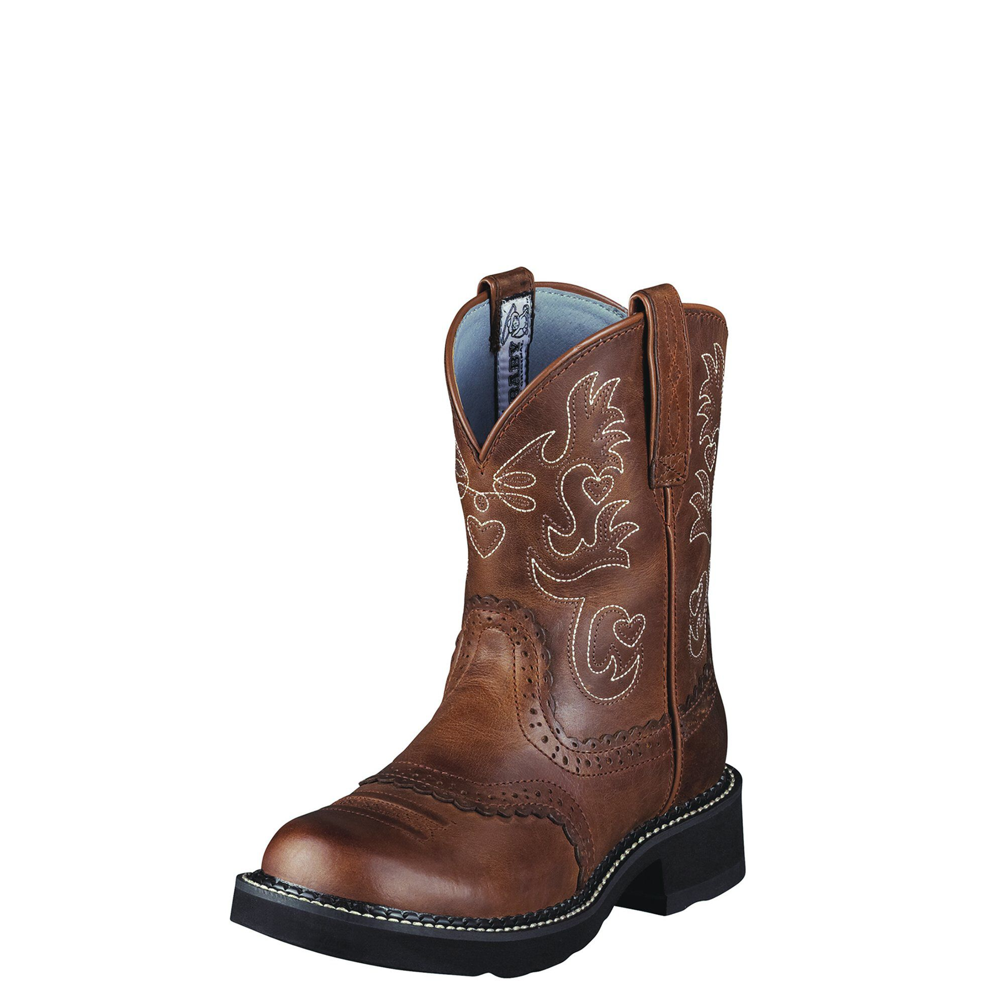 Women's Fatbaby Saddle Western Boots in Russet Rebel Leather by Ariat