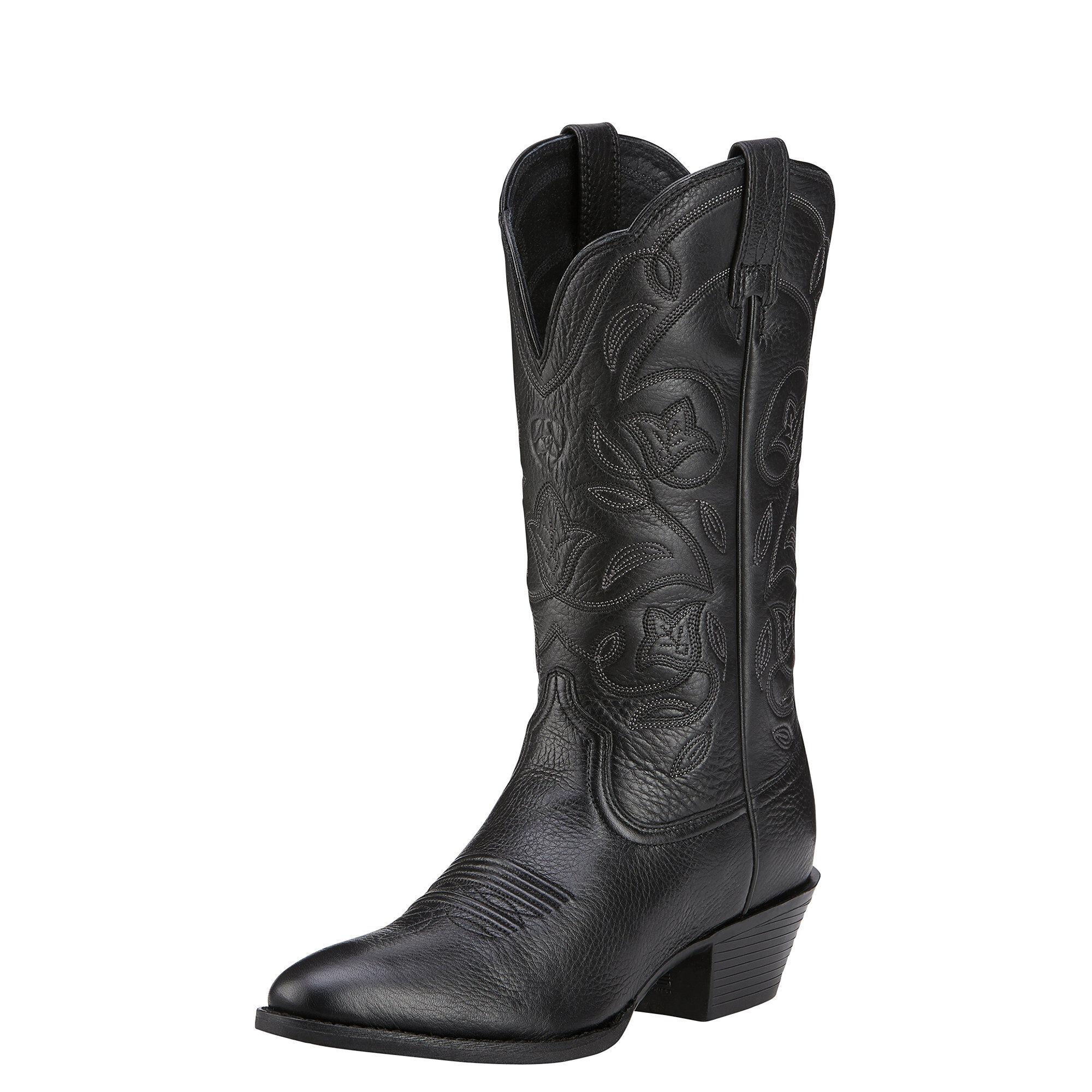 Women's Heritage R Toe Western Boots in Black Deertan by Ariat