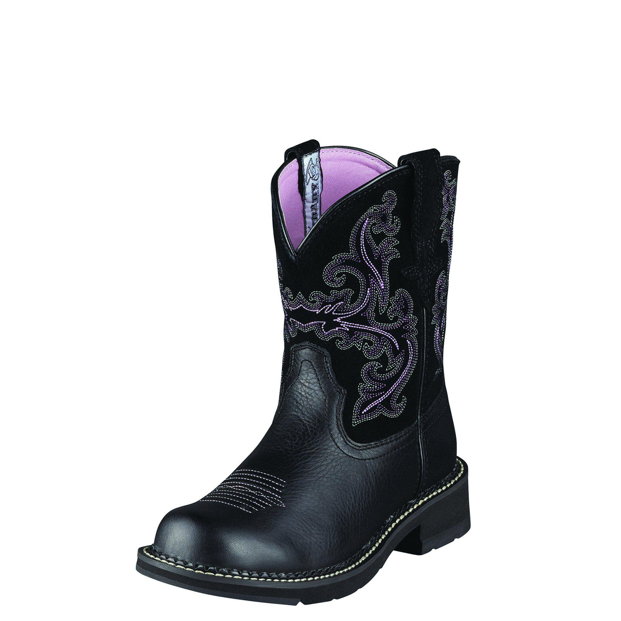 Women's Fatbaby II Western Boots in Black Deertan by Ariat