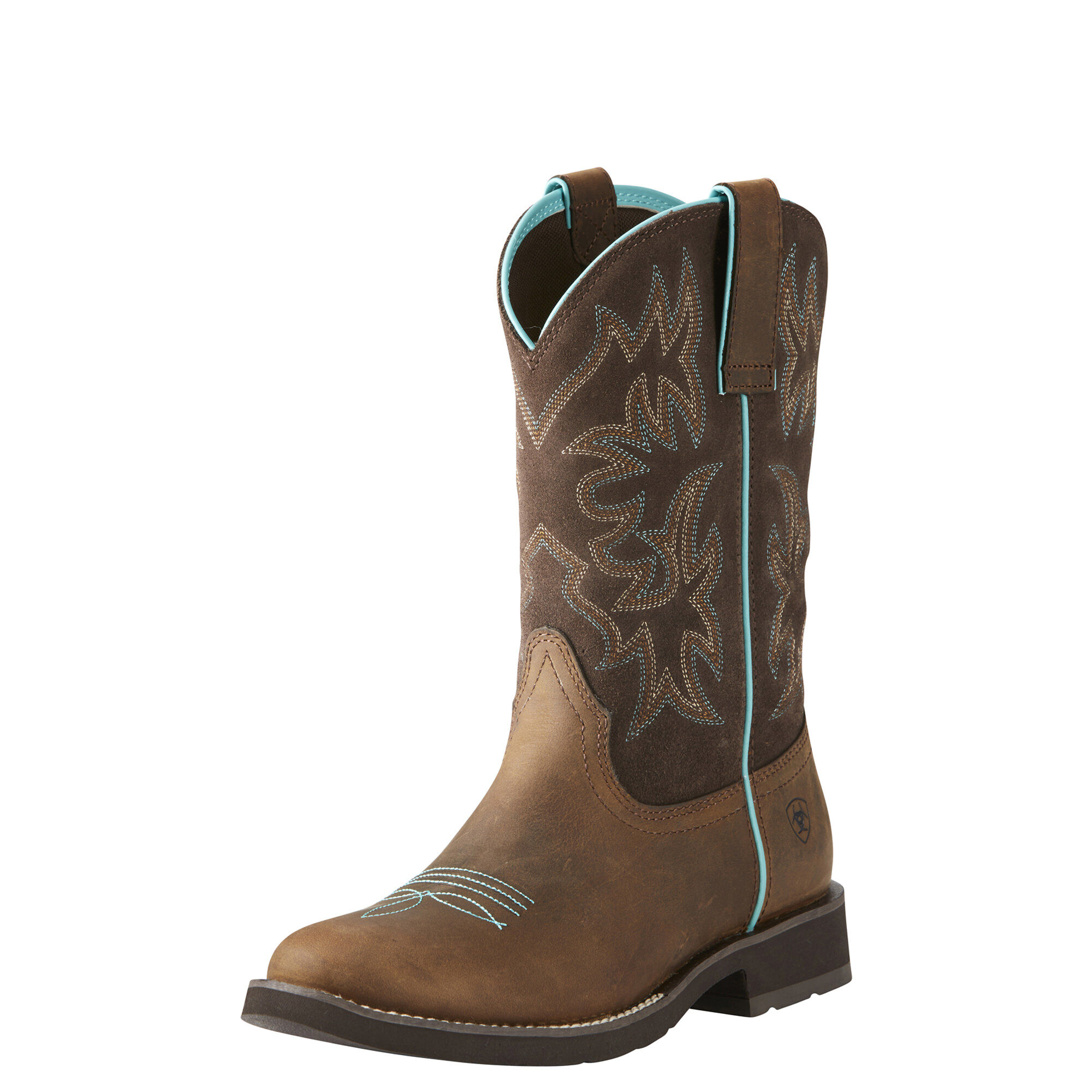 Women's Delilah Round Toe Western Boots in Distressed Brown Leather by Ariat