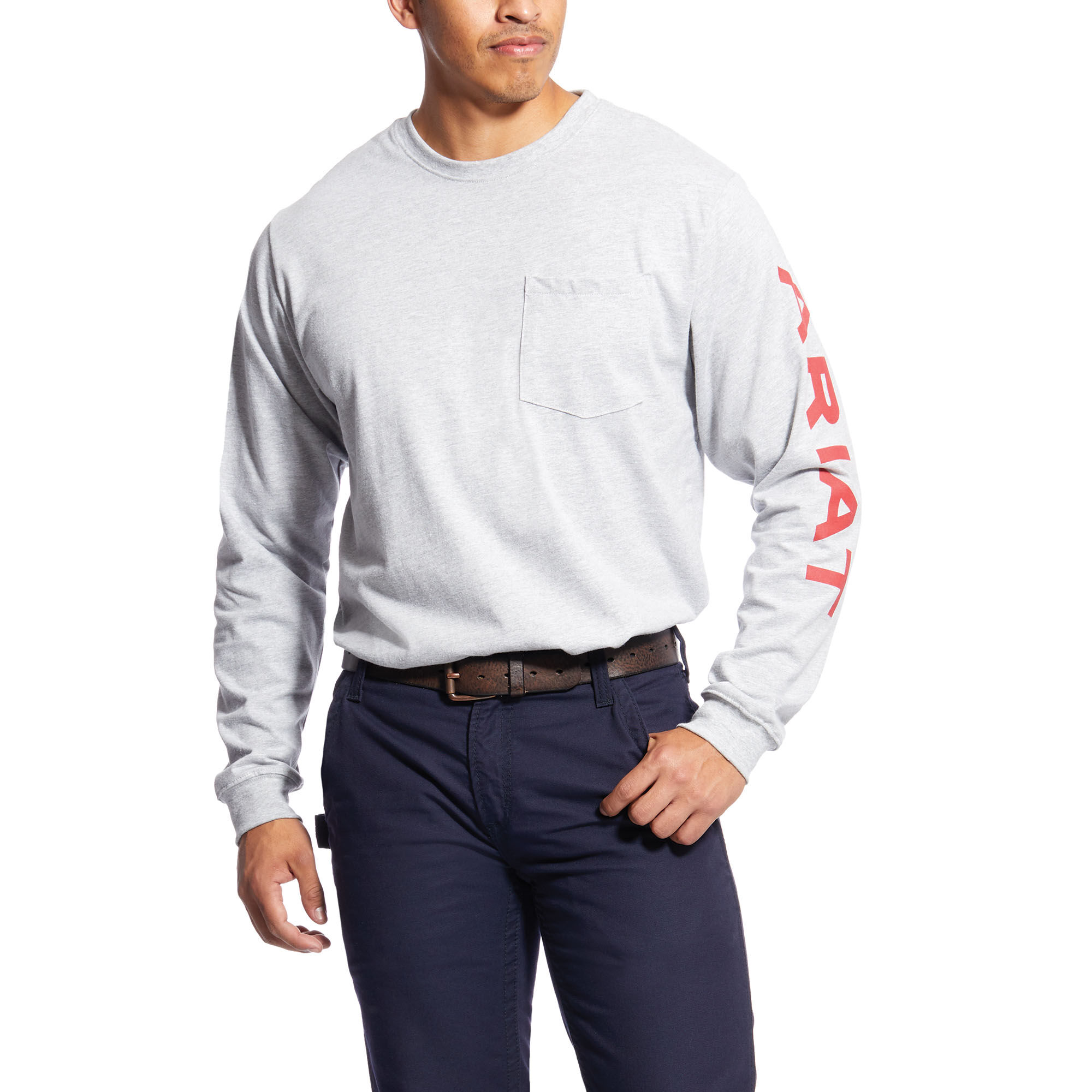 Ariat Men/'s FR Pocketed Logo Black Long Sleeve T-Shirt 10023948