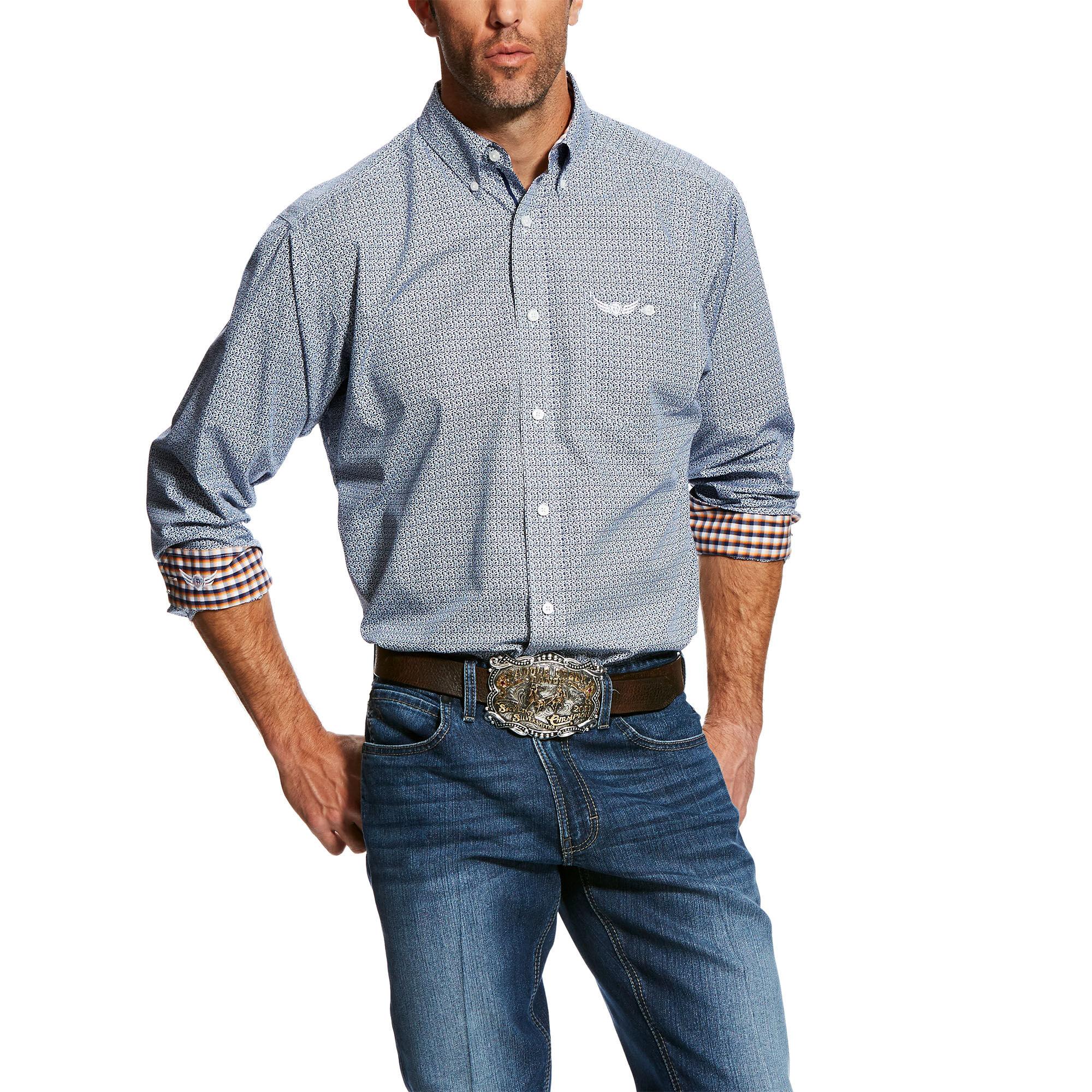Ariat® Men/'s Casual Series Dawson Blue Printed Shirt 10025521