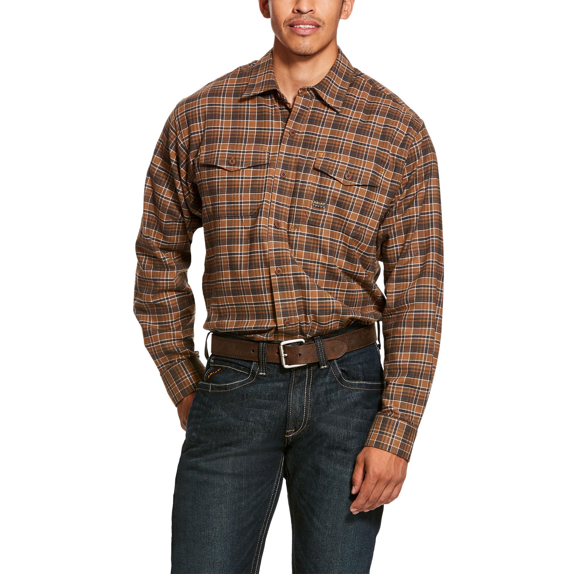 Ariat Men's Rebar Flannel DuraStretch Work Shirt in Zane Plaid Cotton