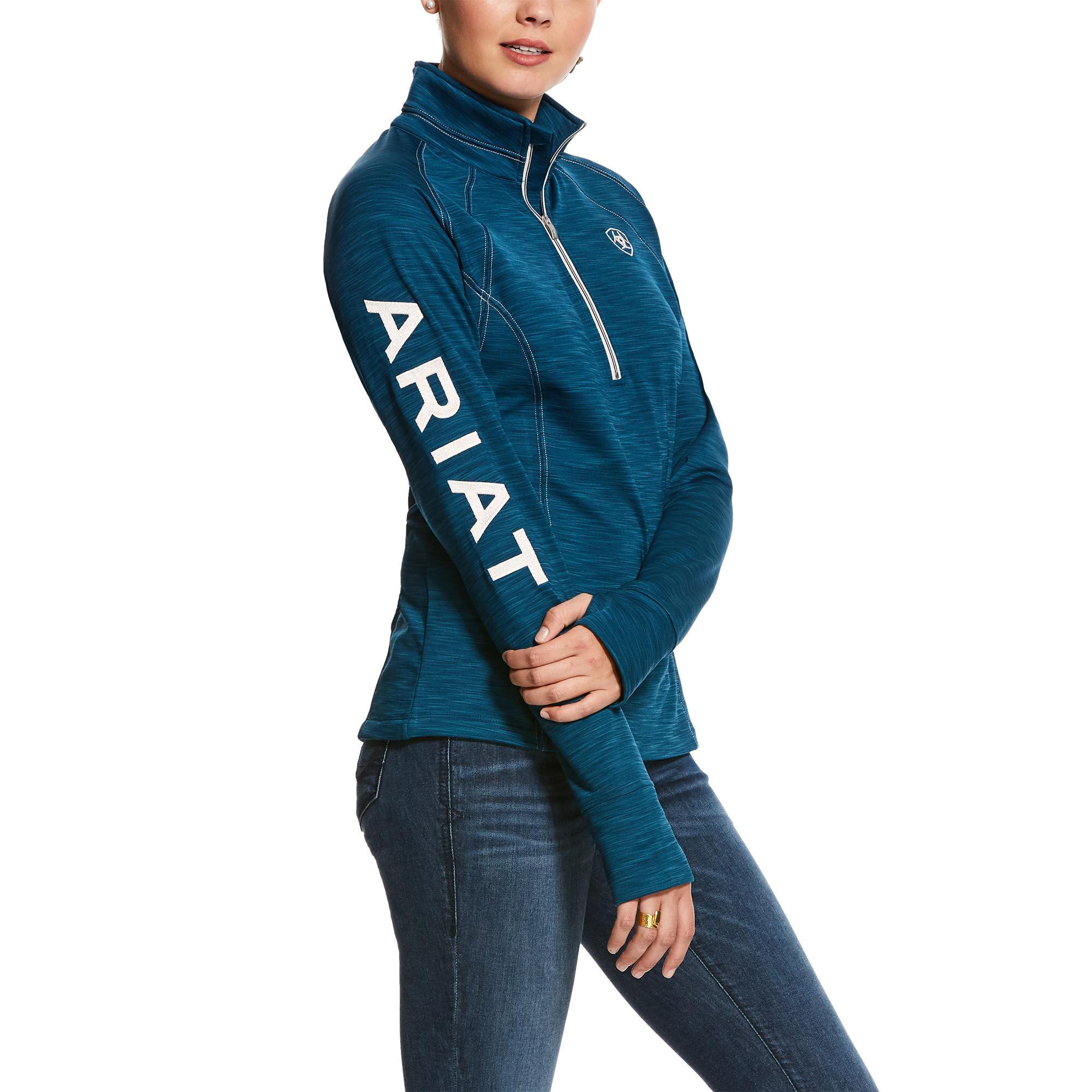 Imperial Violet Heather Ariat Tek Team Womens 1//2 Zip Sweatshirt