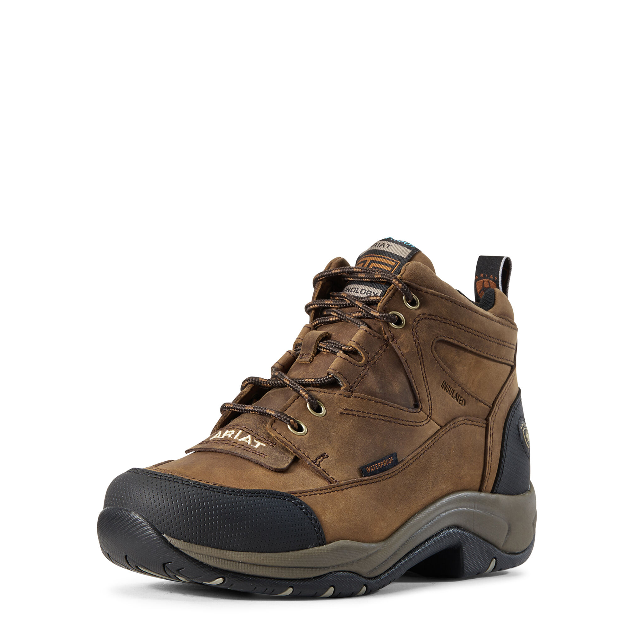 Women's Terrain Waterproof Insulated Boots in Distressed Brown by Ariat