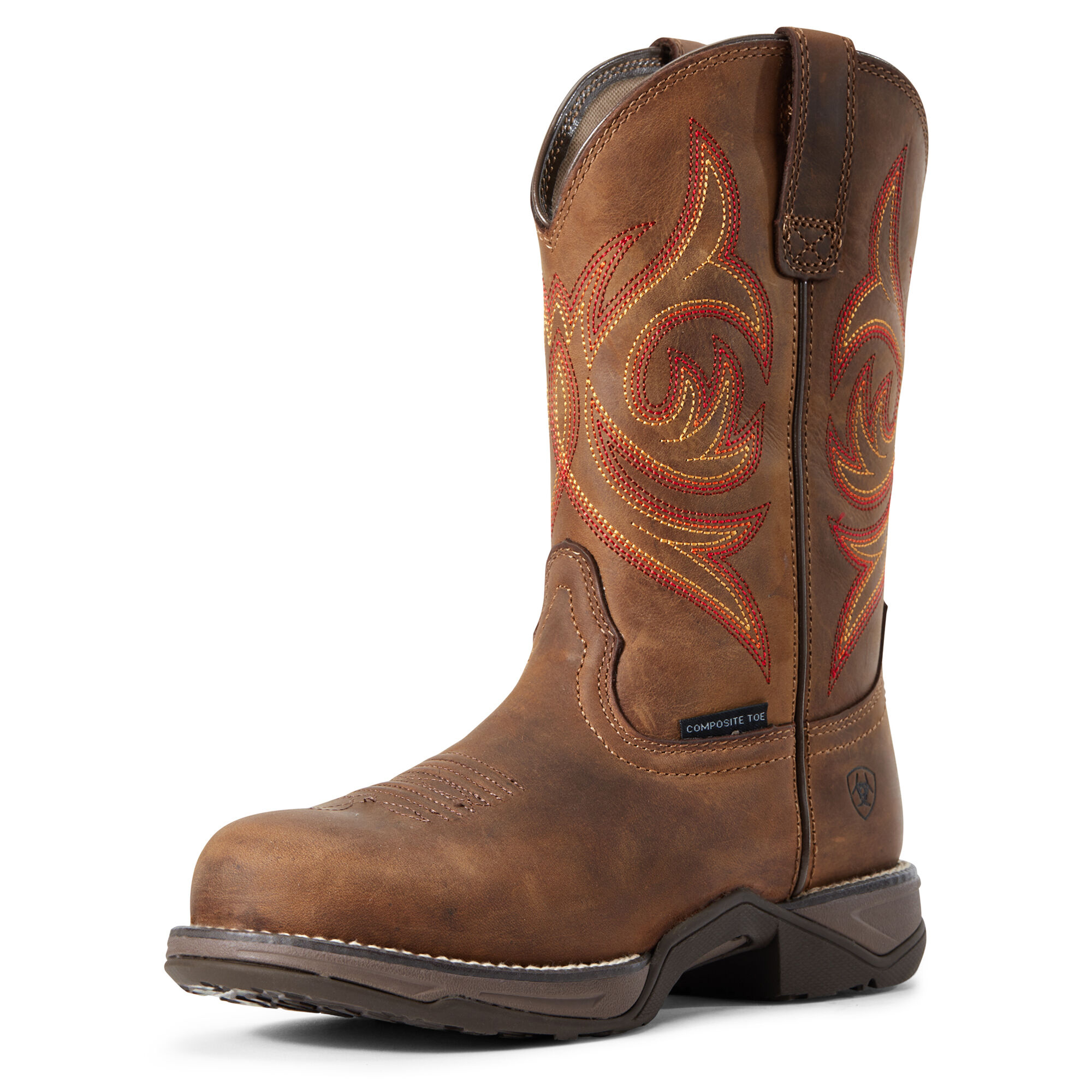 Women's Anthem Round Toe Composite Toe Work Boots in Distressed Brown by Ariat