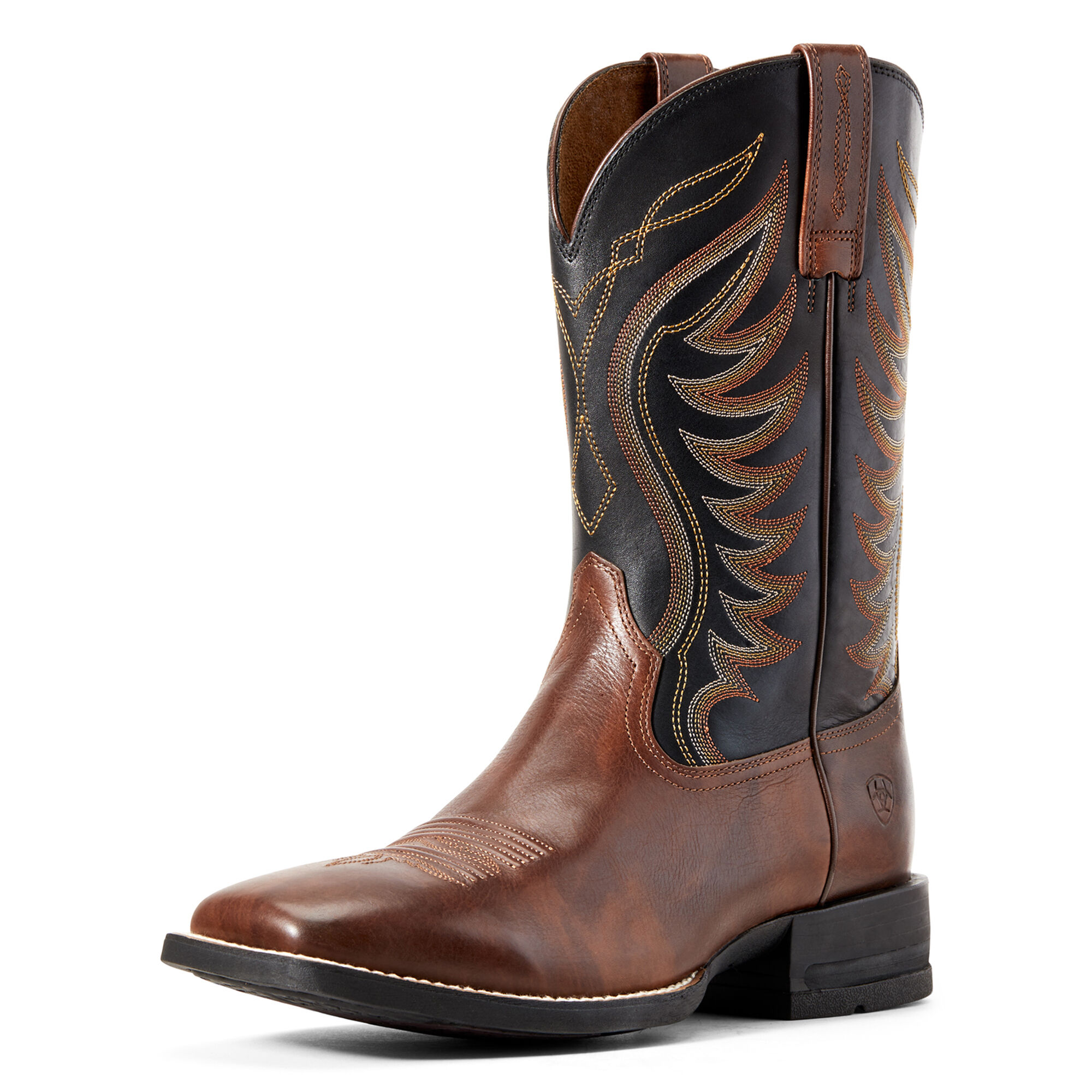 Ariat Men's Amos Western Boots in Hand Stained Red-Brown Leather